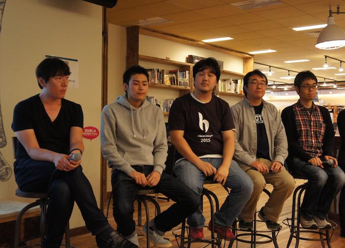 左より、中橋氏、清水氏、江頭氏(eegozilla)、岡田氏、山内氏